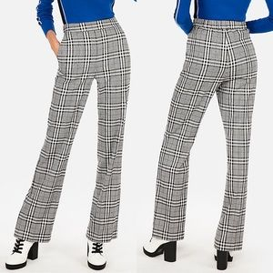 NWT {EXPRESS} High Waist Plaid Wide Leg Pants